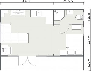 2D Floor Plan for The Stradbroke Cabin