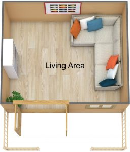 3D Floor Plan of the Teenage Reatreat Timber Cabins