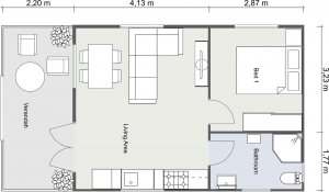2D Floor Plan of Byron Cabin